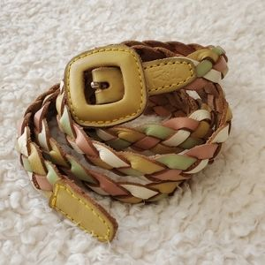 Fossil rainbow leather woven braided belt size M